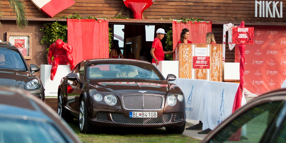 Magaluf property buyers - Bentley, Nikki Beach Mallorca red party.