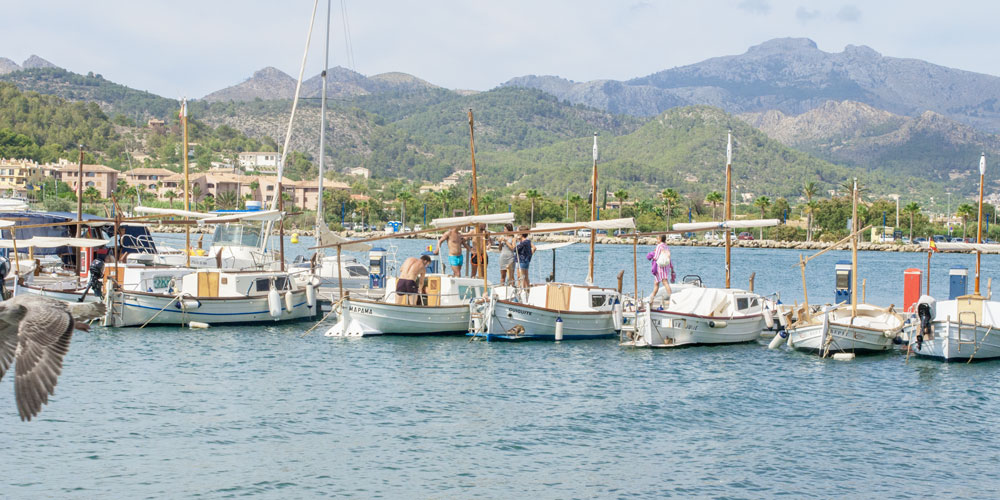 Marina Port Andratx with traditional boats puig esclop mountain background Casafari real estate search Mallorca neighbourhood guide