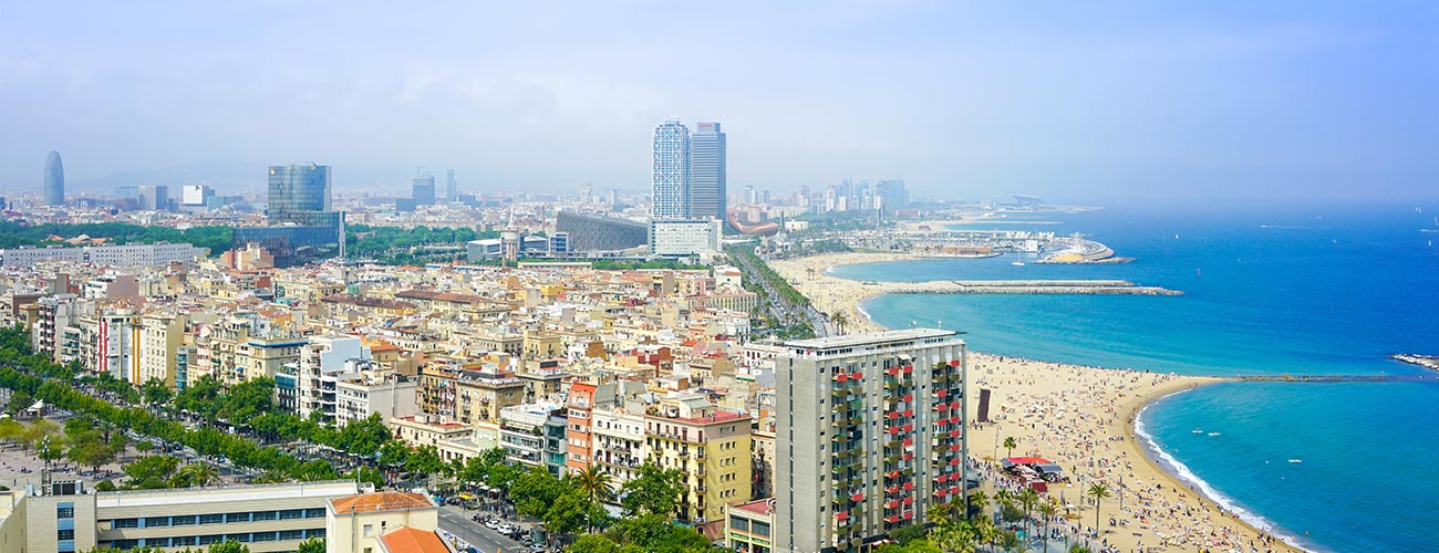 Barcelona property market aerial view.