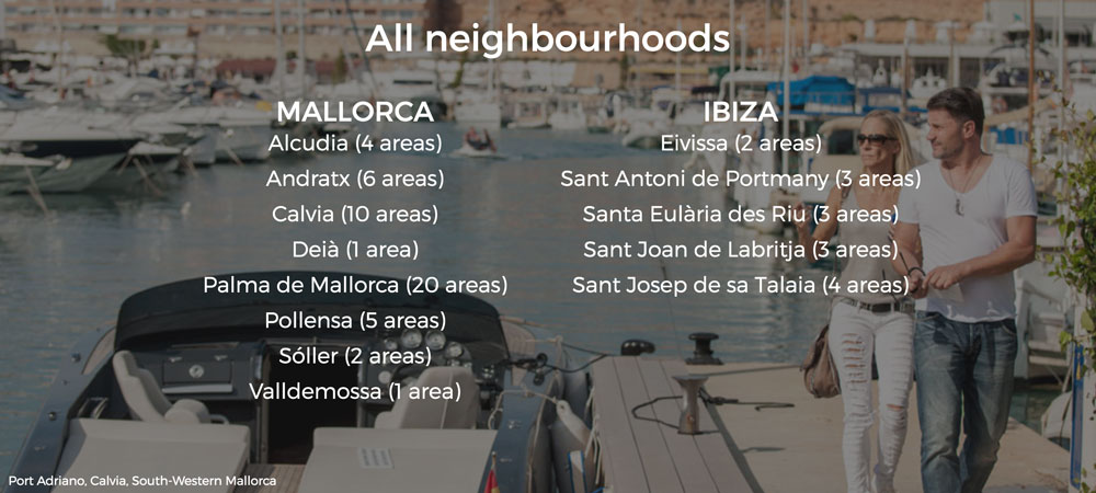 Neighbourhood guides to consult property buyers where to purchase a house in Mallorca and Ibiza
