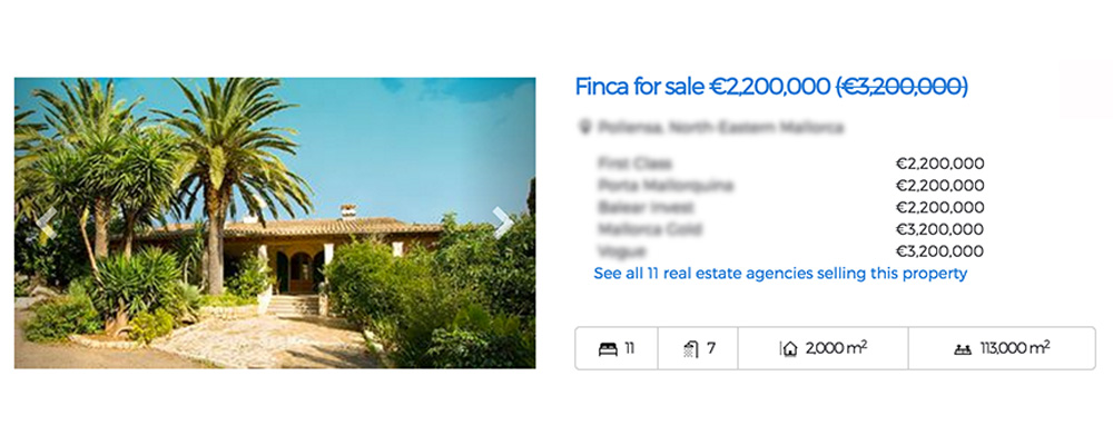 Property price comparison in meta search with 20 real estate agencies in Mallorca