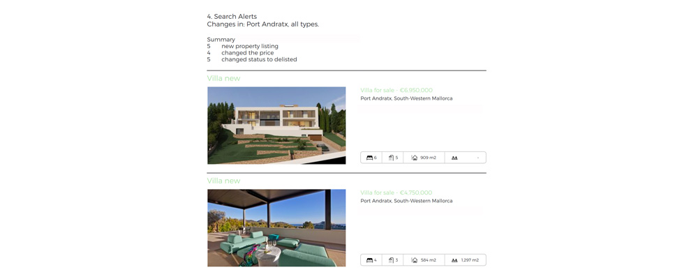property search alerts with daily and weekly reports in Mallorca and Ibiza
