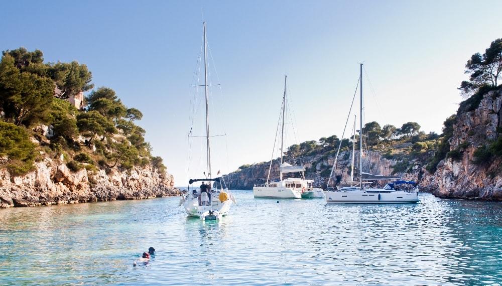 yachts and boats in cala pi llucmajor
