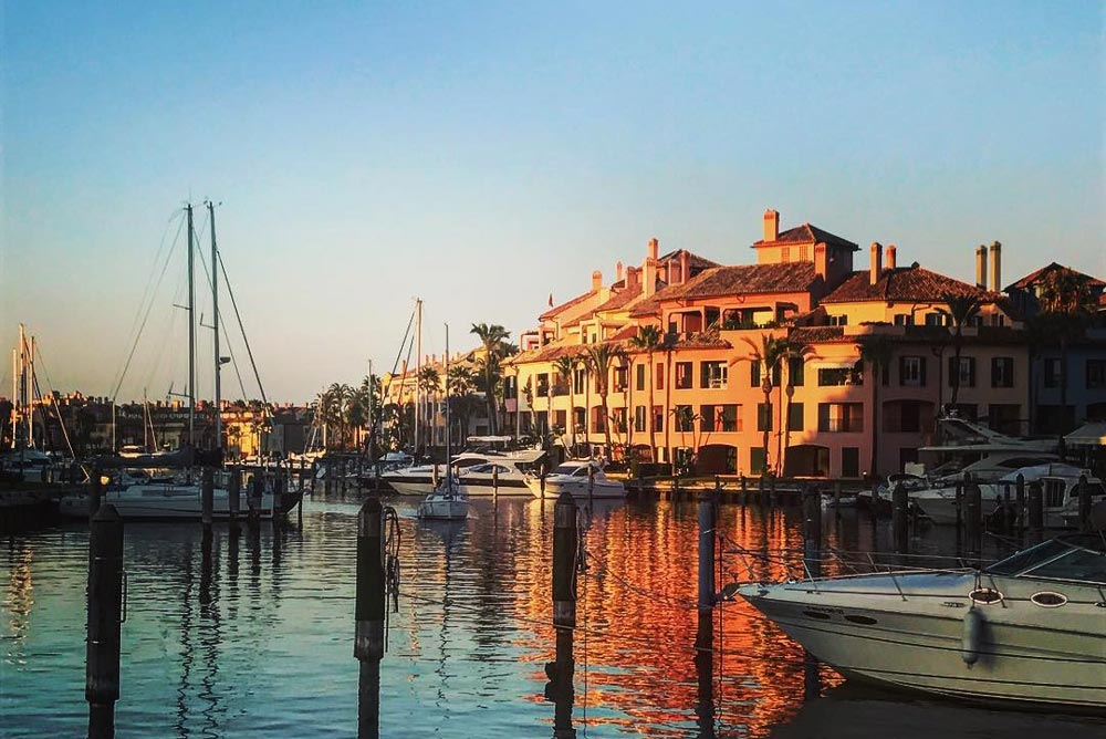 Sotogrande Marina property during sunset.