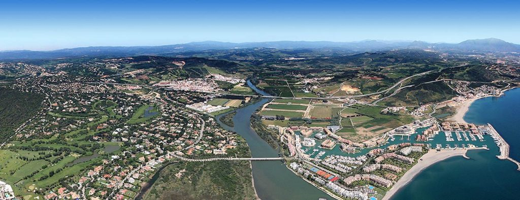 Aerial view of Sotogrande property selection.